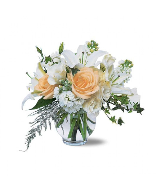 Peach Roses and Lilies