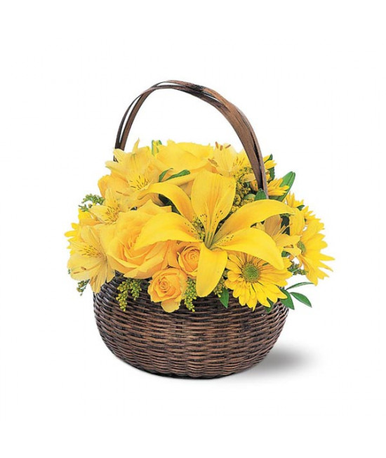 Yellow Floral Basket